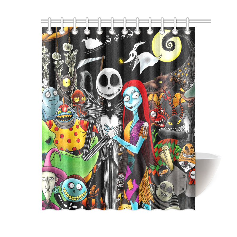 hot the nightmare before christmas waterproof shower curtain 60 x 72 inch ebay. Black Bedroom Furniture Sets. Home Design Ideas