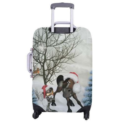 """Christmas cute bird and horse Luggage Cover/Large 26""""-28"""""""