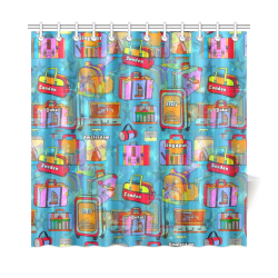 "Travel Pop by Nico Bielow Shower Curtain 72""x72"""