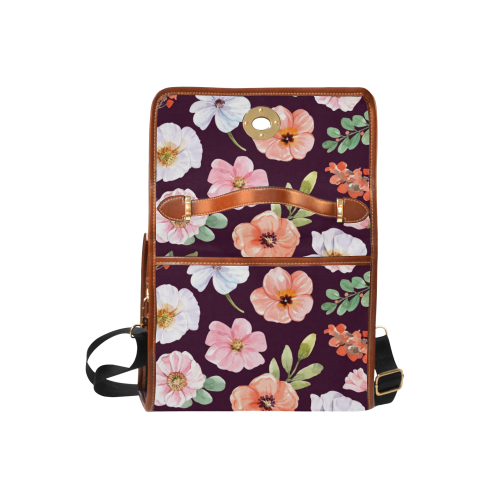Gorgeous Pink and White Watercolor Floral Waterproof Canvas Bag/All Over Print (Model 1641)