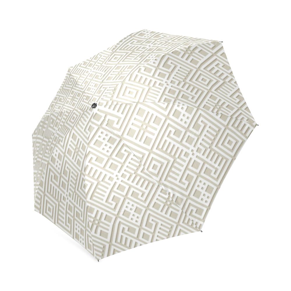 White 3D Geometric Pattern Foldable Umbrella (Model U01)