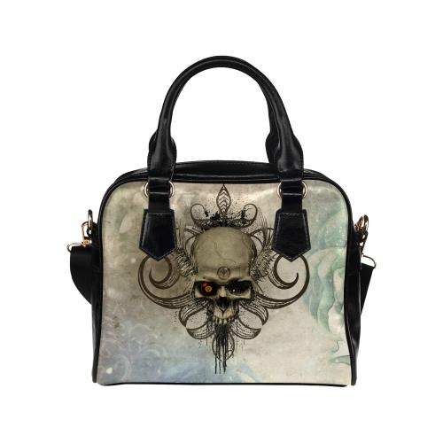 Creepy skull, vintage background Shoulder Handbag (Model 1634)