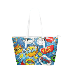 Fairlings Delight's Pop Art Collection- Comic Bubbles 53086o4 Leather Tote Bag/Small (Model 1651)