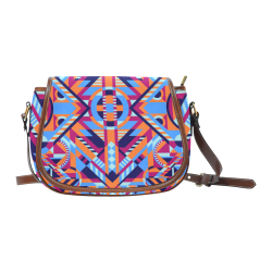 Modern Geometric Pattern Saddle Bag/Large (Model 1649)