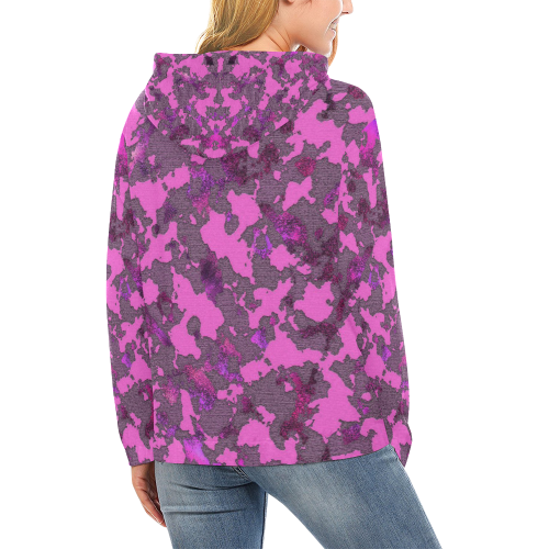 CAMOUFLAGE PINK HOODIE All Over Print Hoodie for Women (USA Size) (Model H13)