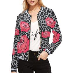 Leopard Rose All Over Print Bomber Jacket for Women (Model H21)