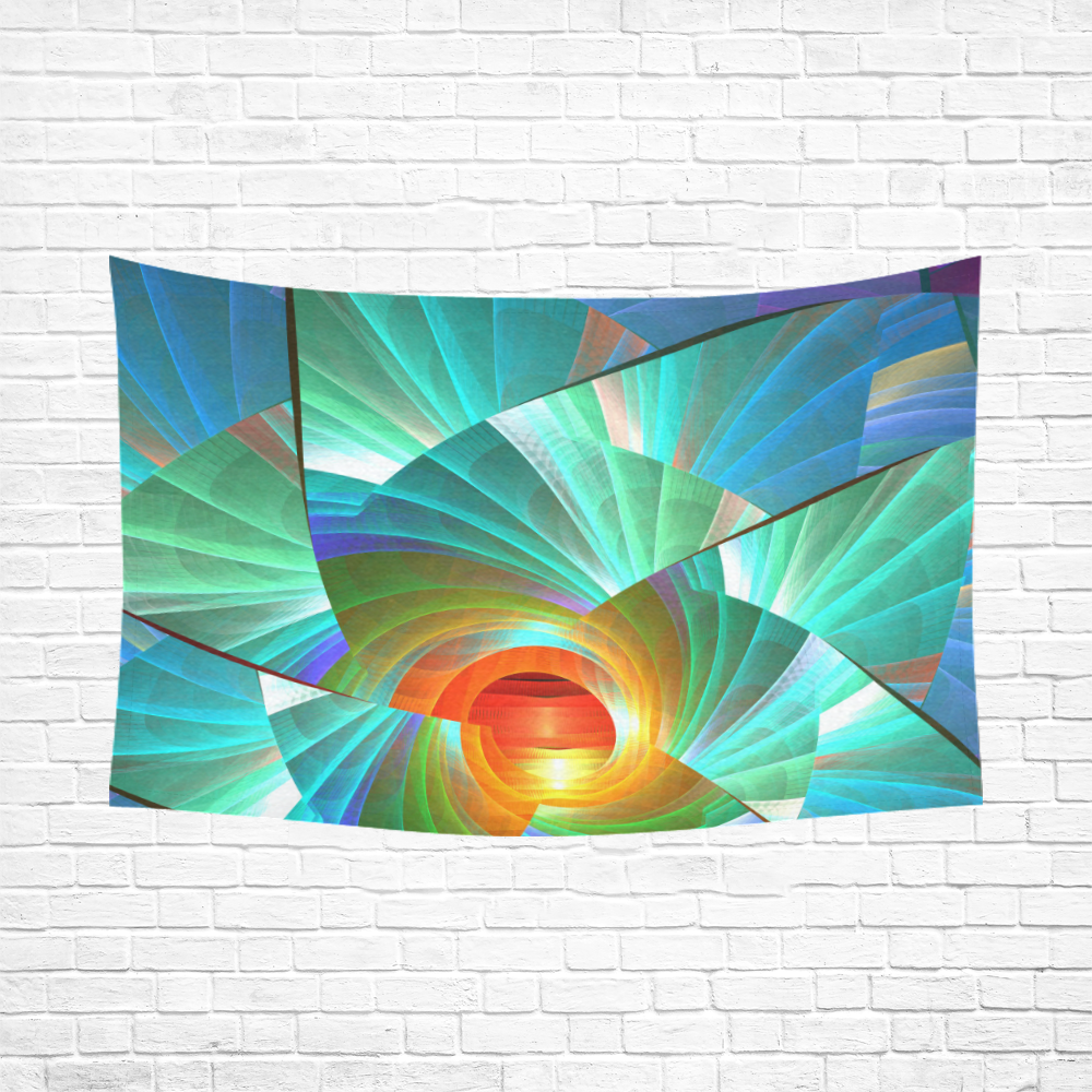 """Cracked Mirror Sunrise Cotton Linen Wall Tapestry 90""""x 60"""""""