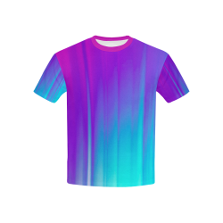 Blue, Pink, Purple Gradient Kids' All Over Print T-Shirt with Solid Color Neck (Model T40)