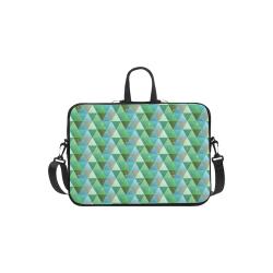 "Triangle Pattern - Green Teal Khaki Moss Laptop Handbags 13"""
