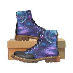 purple blue galaxy Apache Round Toe Women's Winter Boots (Model 1402)