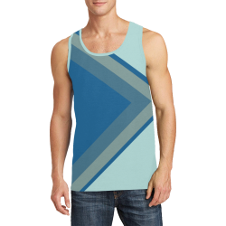 Classic Blue Layers on Bleached Coral Men's All Over Print Tank Top (Model T57)