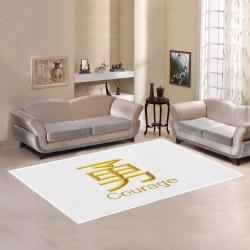 SQ-Golden  Asian Symbol for Courange Area Rug7'x5'