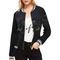 Black Cat All Over Print Bomber Jacket for Women (Model H21)