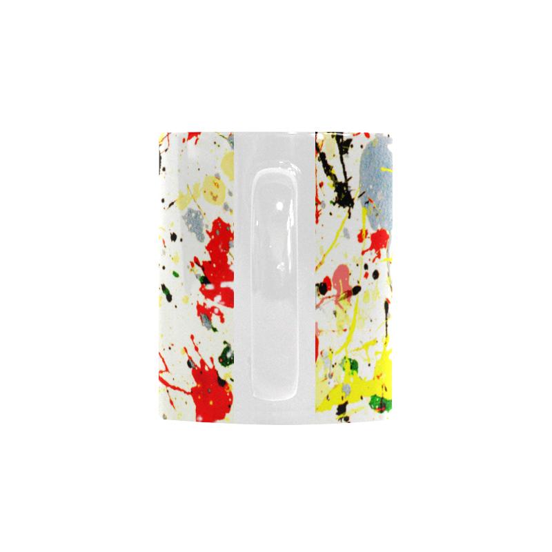 Black, Red, Yellow Paint Splatter Custom White Mug (11OZ)