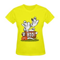Halloween Ghosts, Owl and Pumpkin / Yellow Sunny Women's T-shirt (Model T05)