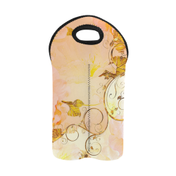 Beautiful flowers in soft colors 2-Bottle Neoprene Wine Bag