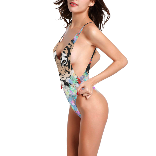 BIG CAT TIGER FLOWER JUNGLE Sexy Low Back One-Piece Swimsuit (Model S09)