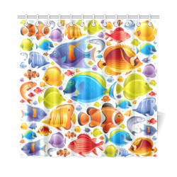 "Colorful Tropical Fish Shower Curtain 72""x72"""