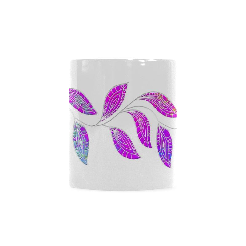 BORDER LEAVES TENDRIL Watercolor Colored White Custom White Mug (11OZ)
