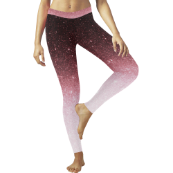 rose gold Glitter gradient Low Rise Leggings (Invisible Stitch) (Model L05)
