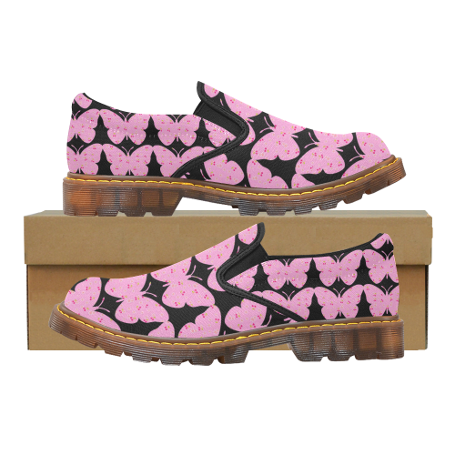 Butterflies Abstract Pink Martin Women's Slip-On Loafer (Model 12031)