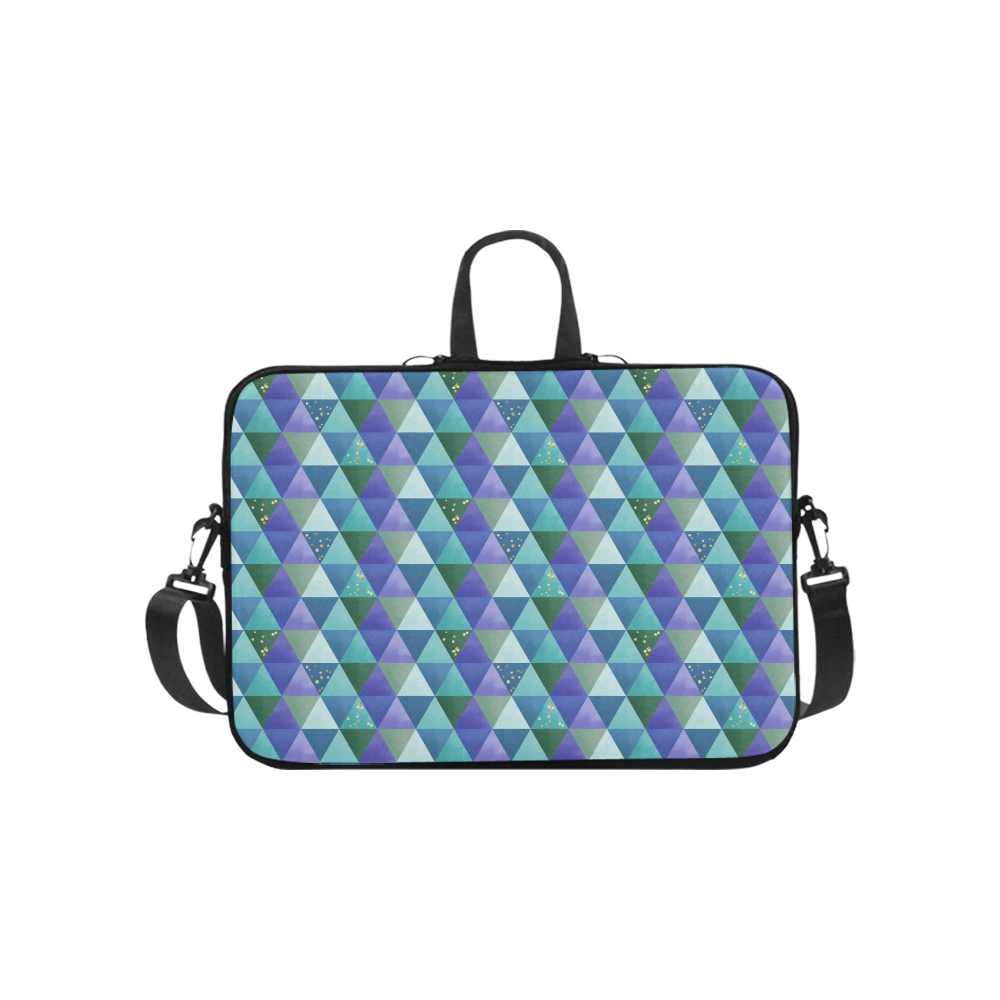 Triangle Pattern - Blue Violet Teal Green Laptop Handbags 10""