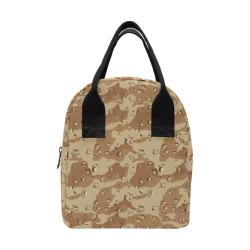 Vintage Desert Brown Camouflage Zipper Lunch Bag (Model 1689)