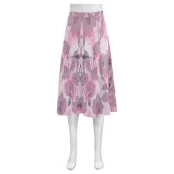 Pink Summer Mnemosyne Women's Crepe Skirt (Model D16)