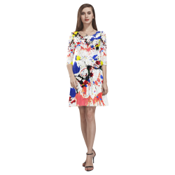 Blue and Red Paint Splatter Tethys Half-Sleeve Skater Dress(Model D20)