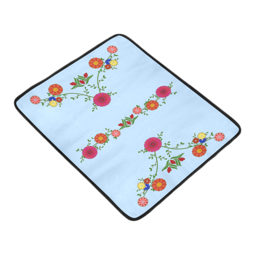 "Flowers on the Vine on Blue Beach Mat 78""x 60"""