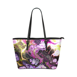Colorful Marble Design Leather Tote Bag/Large (Model 1651)
