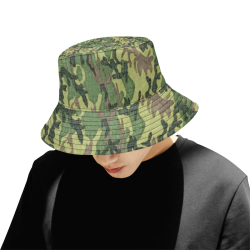 Military Camo Green Woodland Camouflage All Over Print Bucket Hat for Men