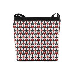 Las Vegas Black and Red Casino Poker Card Shapes on White Crossbody Bags (Model 1613)