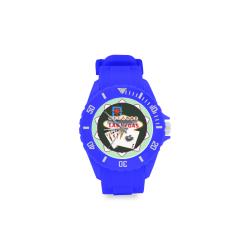 LasVegasIcons Poker Chip - Poker Hand Blue Sport Rubber Strap Watch(Model 301)