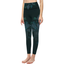 3D Psychedelic Abstract Square Explosion All Over Print High-Waisted Leggings (Model L36)