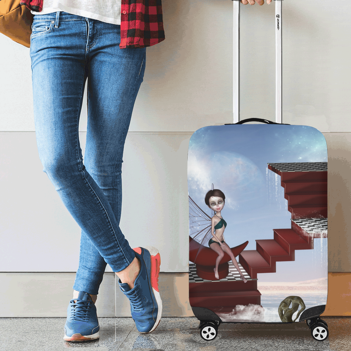 "Cute fairy sitting on the moon Luggage Cover/Small 18""-21"""