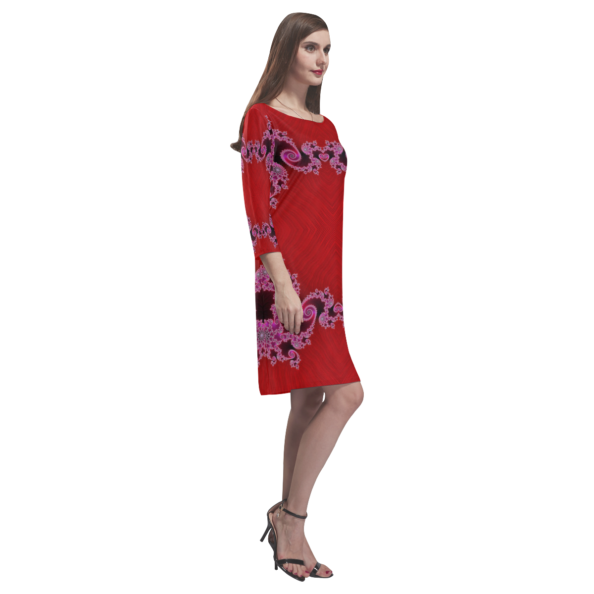 Red Pink Mauve Hearts and Lace Fractal Abstract 2 Rhea Loose Round Neck Dress(Model D22)