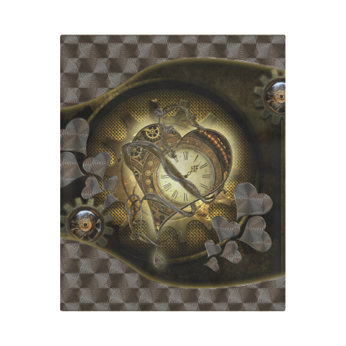 """Awesome steampunk heart Duvet Cover 86""""x70"""" ( All-over-print)"""