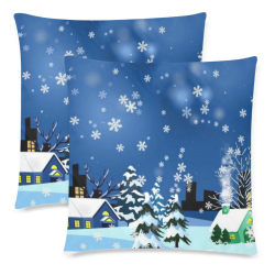 """SNOWFLAKE CHISTMAS KINGDOM Custom Zippered Pillow Cases 18""""x 18"""" (Twin Sides) (Set of 2)"""