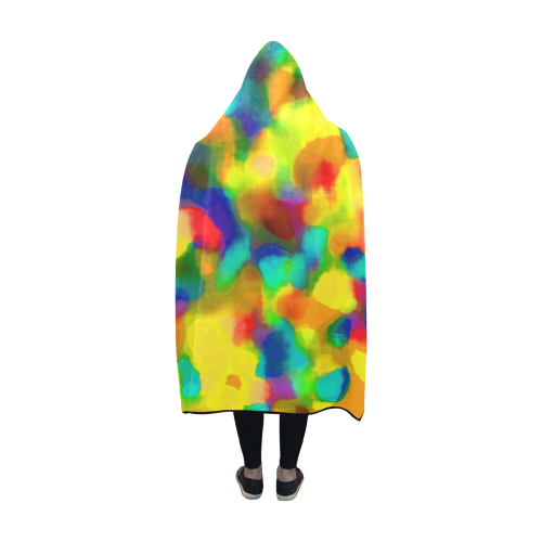 Colorful watercolors texture Hooded Blanket 60''x50''
