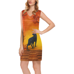 Wonderful black wolf in the night Phoebe Sleeveless V-Neck Dress (Model D09)