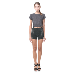 Black  Crackling With Stitching Briseis Skinny Shorts (Model L04)