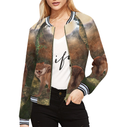 Awesome wolf in the night All Over Print Bomber Jacket for Women (Model H21)