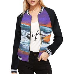 Graffiti Shark (Vest Style) All Over Print Bomber Jacket for Women (Model H21)
