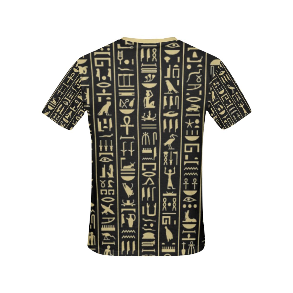 hieroglyphs alphabet All Over Print T-shirt for Women/Large Size (USA Size) (Model T40)