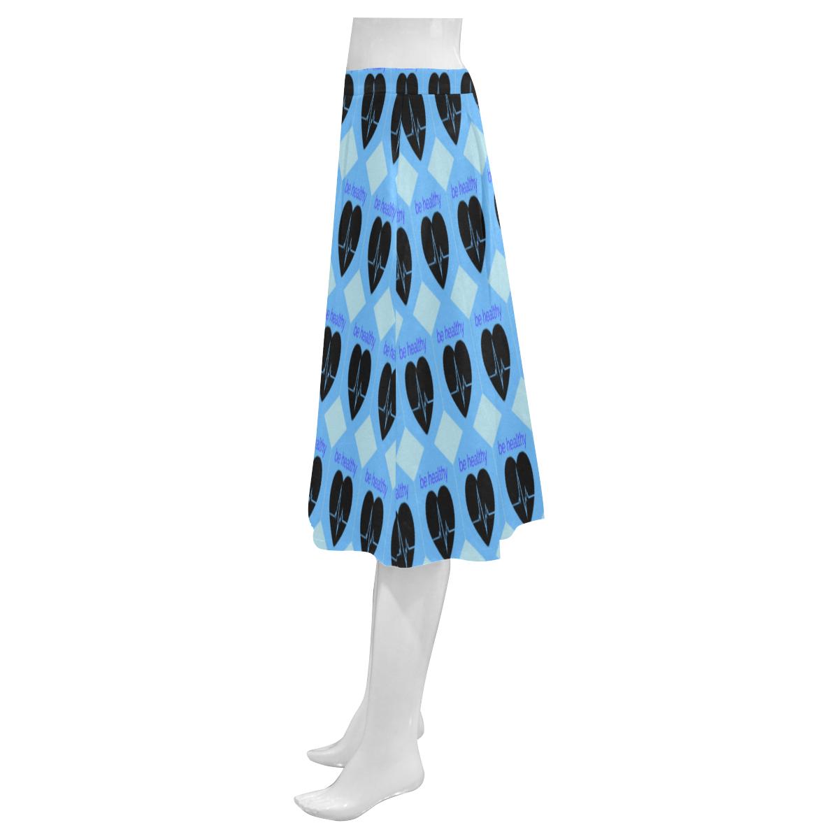 Blue love Mnemosyne Women's Crepe Skirt (Model D16)