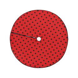 "Polka Dots Black on Red Christmas Tree Skirt 47"" x 47"""