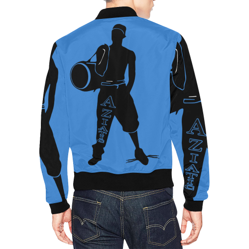 Aziatic Black and Blue All Over Print Bomber Jacket for Men (Model H19)