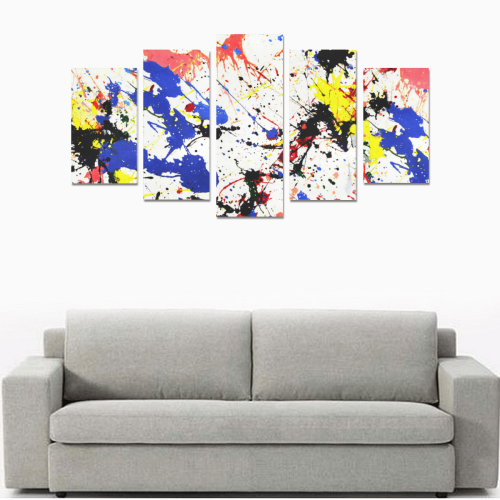Blue and Red Paint Splatter Canvas Print Sets A (No Frame)