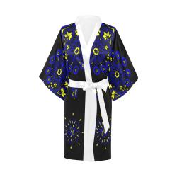 blue yellow bandana version 3 Kimono Robe